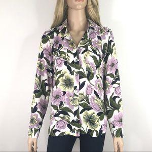 Ann Taylor Floral Garden Long Sleeve Blouse Top